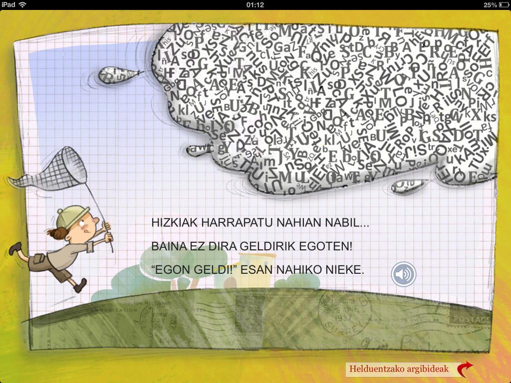 Imagen de la versión para iPad del cuento sobre la dislexia en euskera.