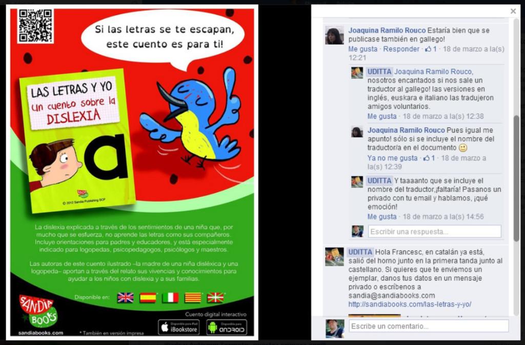 Ofrecimiento en Facebook a traducir el cuento de la dislexia al gallego.